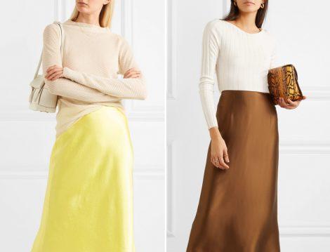 Saten Uzun Etek Modelleri 2019
