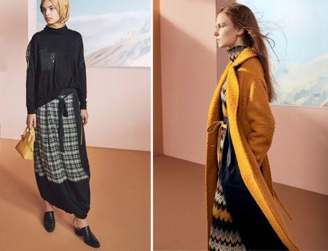 Zühre 2019 - 2020 Desenli Etek ve Elbise - Sarı Manto