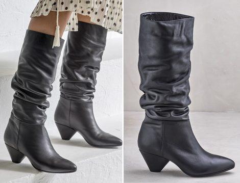 Elle Buruşuk Stil Hakiki Deri Kadın Çizme