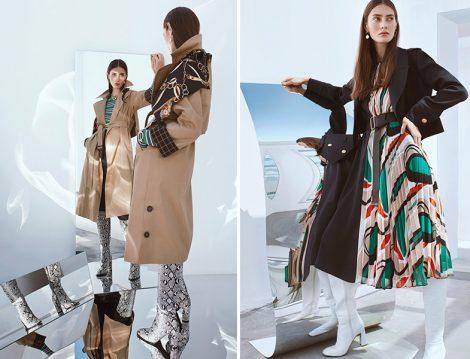 Ipekyol 2019-20 Sonbahar Kış Fularlı Trençkot ve Desenli Elbise