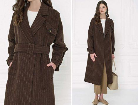 Aker 2019-20 Sonbahar – Kış Çizgili Palto Modeli