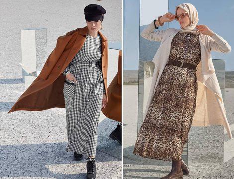 Alvina 2019-20 Sonbahar Kış Desenli Elbise ve Kaban