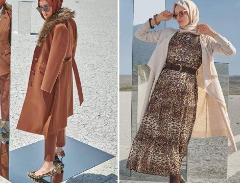 Alvina Giyim 2019-20 Sonbahar Kış Kürk Yaka Manto ve Leopar Desen Elbise