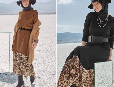Alvina Giyim 2019-20 Sonbahar Kış Leopar Desen Etek