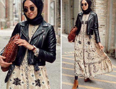 Elif Doğan Zara Deri Ceket ve H&M Çiçekli Elbise Kombini