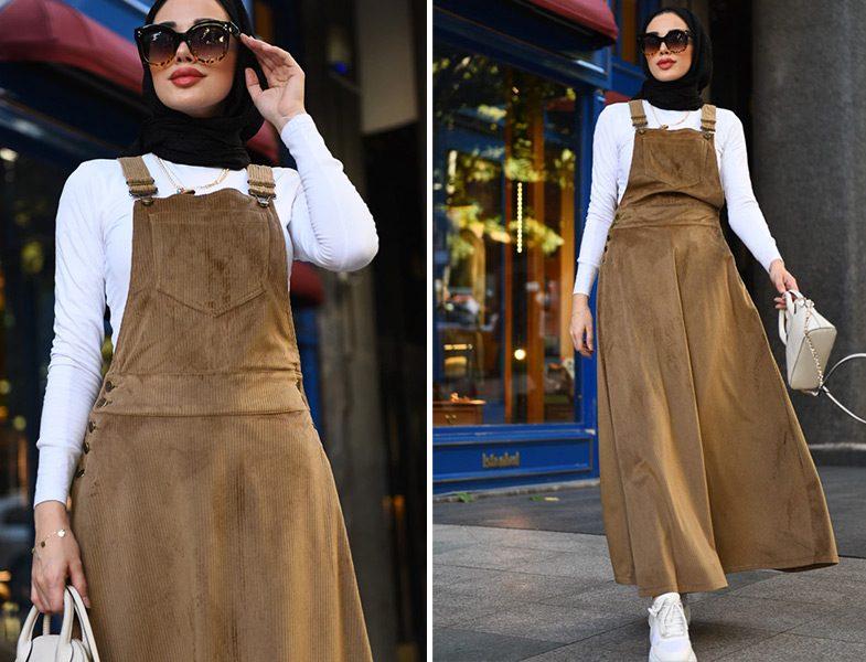 Neways Bej Jile Kadife Elbise