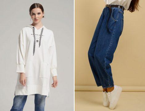 Safiye Ekiz Sweatshirt - DE-MİM Slouchy Fit Denim Pantolon