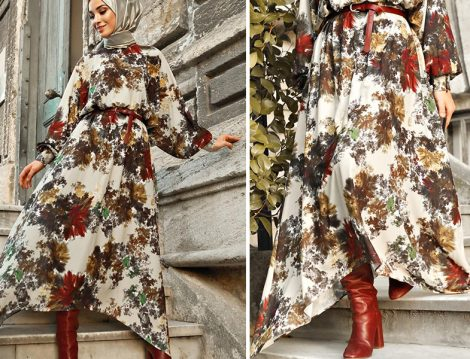 Sena Sever Habb Desenli Elbise ve Zara Bordo Çizme Kombini