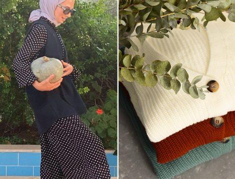 Tuğba Tekin Puantiyeli Elbise ve Süveter Kombini - Hooop Store Hırka