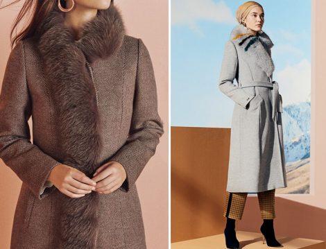 Zühre 2019-20 Sonbahar Kış Kürk Yaka Palto Modeli