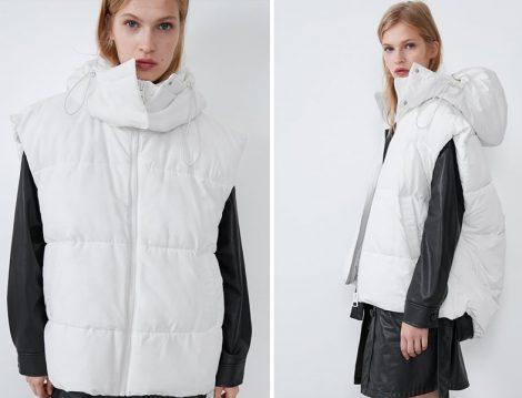 Zara 2019-20 Sonbahar Kış Beyaz Oversize Şişme Yelek