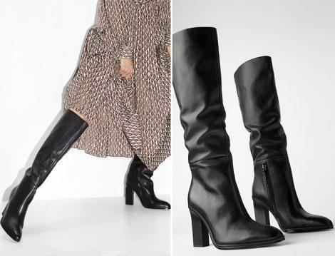 Zara Siyah Kalın Topuklu Deri Çizme