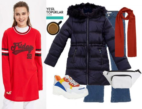 DeFacto Kırmızı Sweatshirt İle Spor Kombin