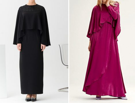 Gönül Kolat Siyah Kısa Pelerinli Abiye Elbise - Mizalle Fuşya Pelerinli Elbise