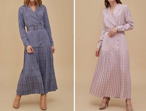 Kayra 2020 Pliseli Jakarlı Elbise