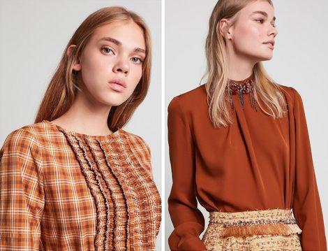 Machka İlkbahar-Yaz 2020 Kiremit Ekose ve Yaka Detaylı Bluz