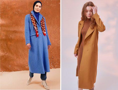 Mnatural Mavi Düğmeli Kaban - Trendyolmilla Camel Kaşe Düğmeli Yünlü Kaban