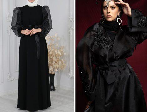 Sahranur Siyah Kolu Organze Tüllü Abiye Elbise - Al Sheikha Siyah Organze Kaftan Ferace