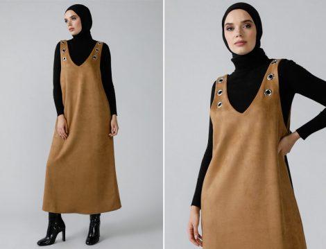 Tesettur Sutlu Kahve Jile Elbise Modeli 2020