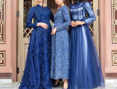 Tuay Karaca 2020 Mavi Abiye Elbise