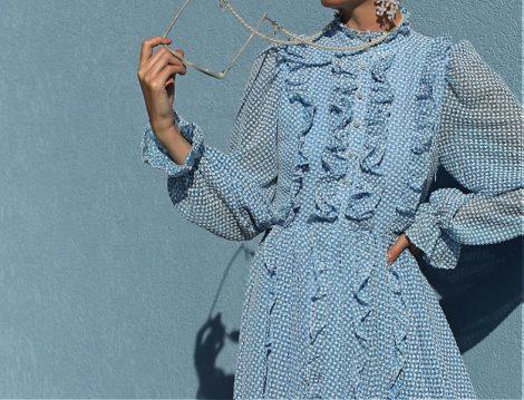 Volanlı ve Fırfırlı Elbise