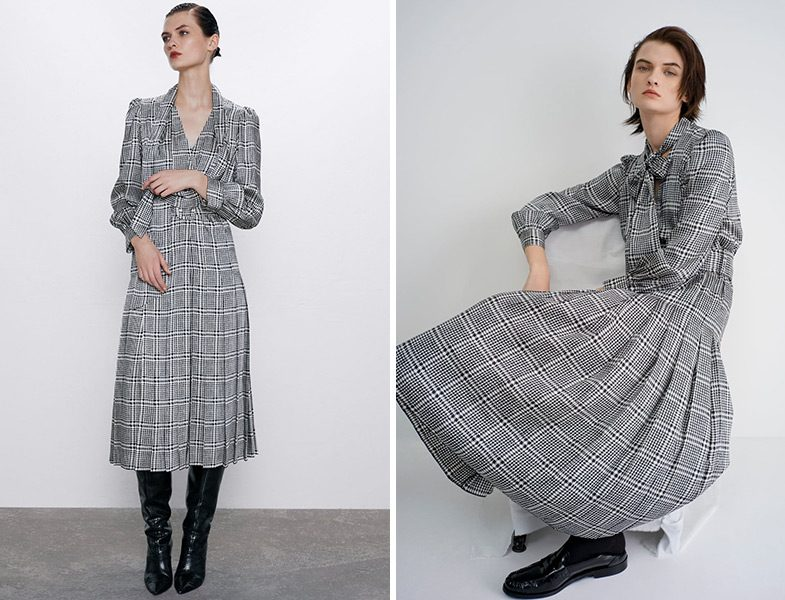 Zara Ekose Desen Elbise