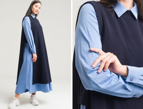 Armağan Lacivert İçi Elbiseli İkili Takım
