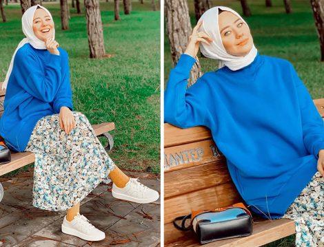 Aybüke Nur Demirci: Koupe Mavi Sweatshirt - Pull&Bear Çiçekli Etek & Camper Sneaker