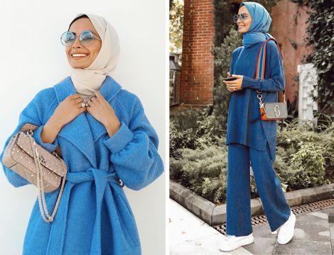 Betül Gedik: Kadriye Baştürk Mavi Peluş Kaban - Terzi Dükkanı Mavi Takım