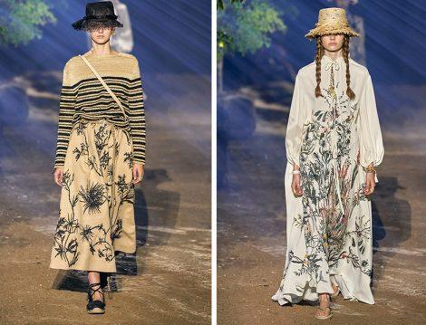 Christian Dior 2020 İlkbahar Yaz Desenli Etek ve Elbise