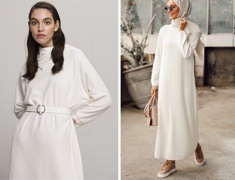 Kadriye Baştürk Beyaz Triko Elbise & Betül Gedik: Studio Nish Beyaz Triko Elbise