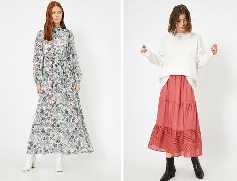 Koton 2020 İlkbahar Yaz Desenli Elbise ve Dantel Detaylı Etek