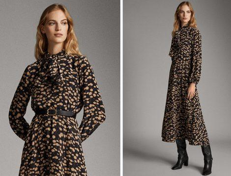 Massimo Dutti Çiçekli Elbise - Çizme Kombini