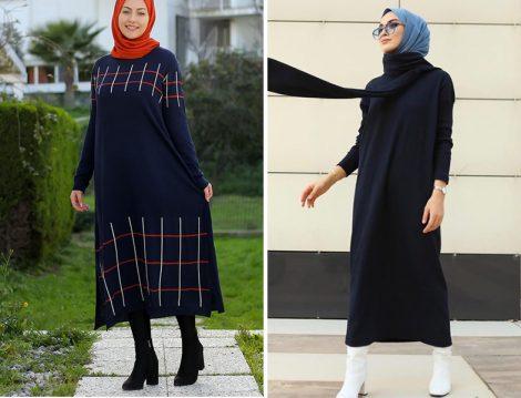 Por La Cara Lacivert Triko Elbise - Sena Sever: Fahhar Design Lacivert Triko Elbise