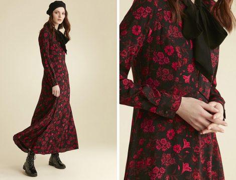Tuğba Venn Fiyonk Yaka Detaylı Çiçekli Elbise