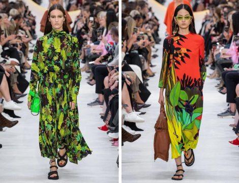 Valentino 2020 İlkbahar Yaz Desenli Elbise