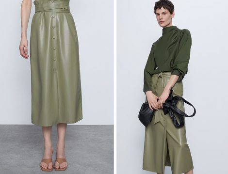 Zara 2020 Yağ Yeşili Suni Deri Etek