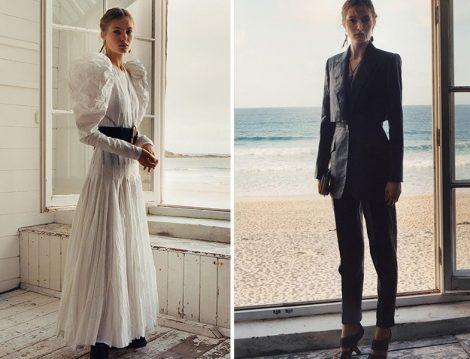 Alexander McQueen 2020 İlkbahar – Yaz Beyaz Elbise ve Siyah Takım