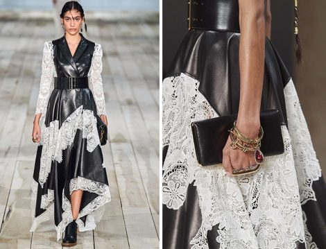 Alexander McQueen Siyah Deri Beyaz Dantel Detaylı Elbise