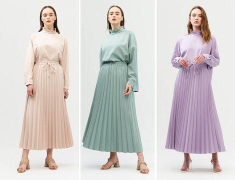 Aybike Tekstil Pliseli Etek-Bluz Takım