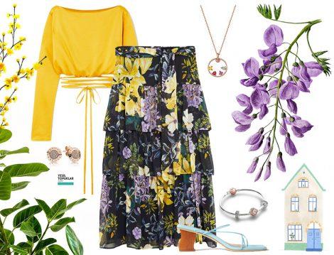 Baharlık Çiçek Desenli Etek Kombini