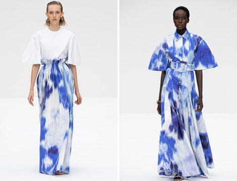 Carolina Herrera 2020 İlkbahar – Yaz Mavi Beyaz Batik Desenli Etek ve Elbise