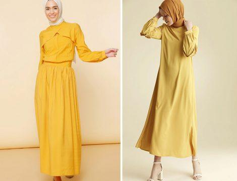 Mnatural Hardal Elbise - Nihan Sarı Elbise