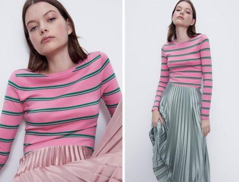 Zara 2020 Yaz Pilili Saten Etek ve Çizgili Tişört