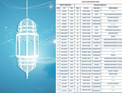 2020 Yılı Dini Günler ve Bayramlar Takvimi