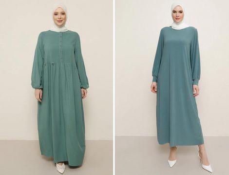 Alia Çam Yeşili Kolları Lastik Detaylı Elbise - Alia Çam Yeşili Basic Elbise