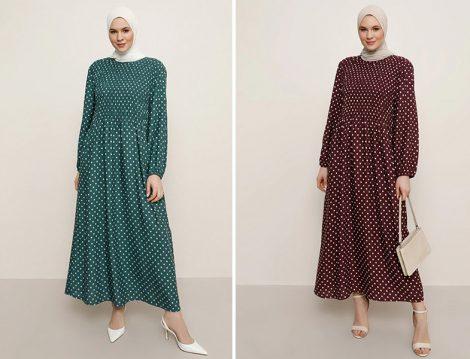 Alia Doğal Kumaşlı Puantiye Desenli Elbise