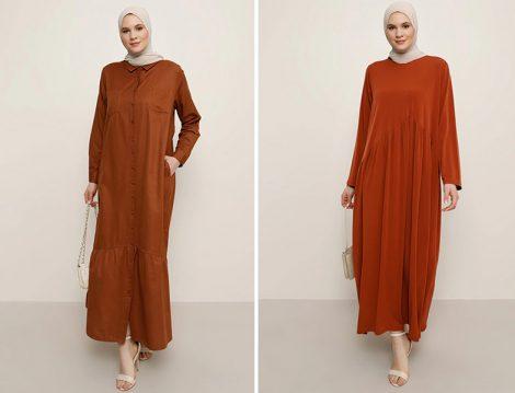 Alia Kiremit Pileli Elbise - Alia Kiremit Boydan Düğmeli Elbise
