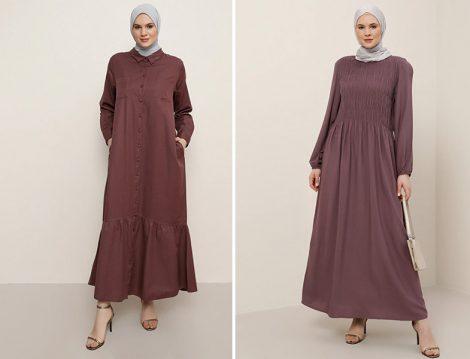 Alia Mistik Mor Boydan Düğmeli Elbise - Alia Mistik Mor Doğal Kumaşlı Büzgü Detaylı Elbise
