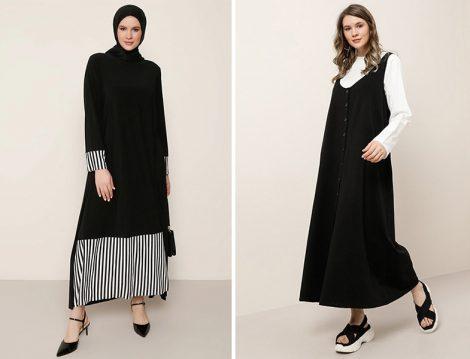Alia Siyah Beyaz Çizgi Desen Detaylı Elbise - Alia Siyah Ekru Doğal Kumaşlı Bluz Elbise İkili Takım